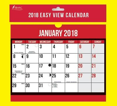 2018 Wall Planner Easy View Month Calendar