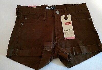 Girl's Levi Shorty Short NWT Brown Ribbed Stretch Denim Size 8, 10, 12 or 14