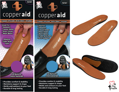 Copper Aid Compression Shoe Insoles Anti Fatigue Odor Fit Feet Shock Absorb Gel