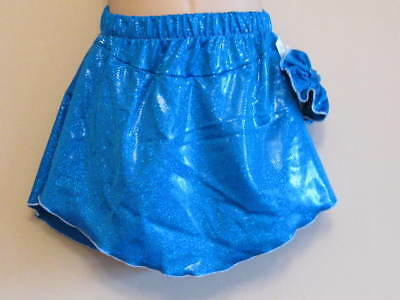 NWT 9-10y CHILD Ice Roller Skating Skirt Attached Pants Blue Lycra Skate Dance