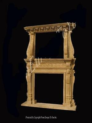 Beautiful Large Antique Carved Solid Marble Fireplace Mantel Fpm98