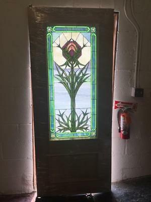 Custom Arts And Crafts Handmade Stained Glass Solid Mahogany Door - Fife0417