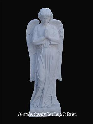Beautiful Hand Carved Solid Marble Estate Incredible Religious Angel Statue  Ma7