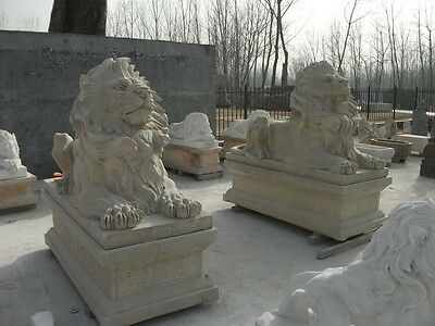 Large Henan Yellow Hand Carved Marble Lions Lion#5