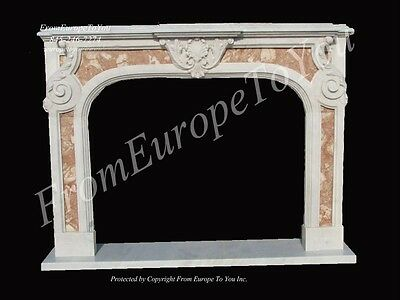 2 Tone Hand Carved Marble Fireplace Mantel Lm035