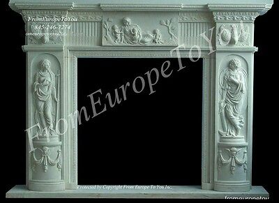 Beautiful Mother Mary Marble Fireplace Mantel Tl55