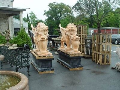 Monumental Estate Hand Carved Marble Roaring Lions M1001