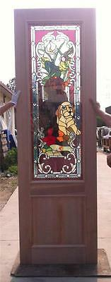 Custom Design Hand Made Mahogany Wood Stained Glass Dog Entry Door - Jh366