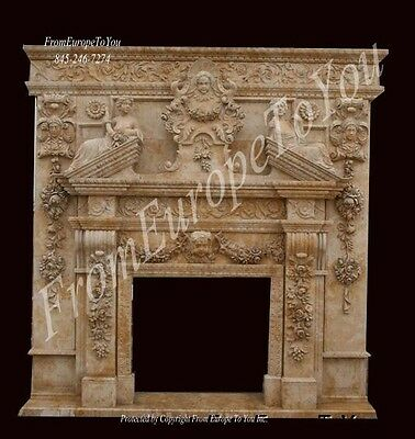 Hand Carved Marble Victorian Style Fireplace Mantel