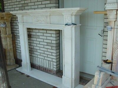 White Hand Carved Marble Grecian Mantel Mfp100