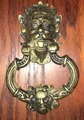 VINTAGE Large CAST BRASS Gothic  Two HEAD  WIZARD DOOR KNOCKER