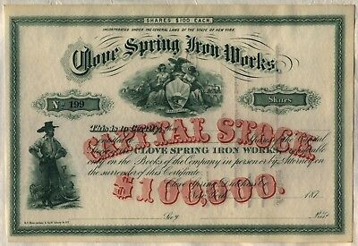 Clove Spring Iron Works Stock Certificate New York
