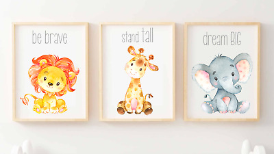 African Safari Animals Friends Nursery Set of 3 Prints Wall Art Decor Baby Lion
