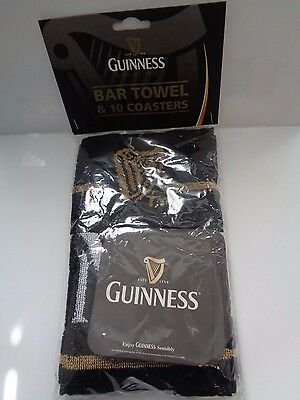 Guiness Breweriana Beer Towel and Coaster Set NEW Fathers Day Gift Barware