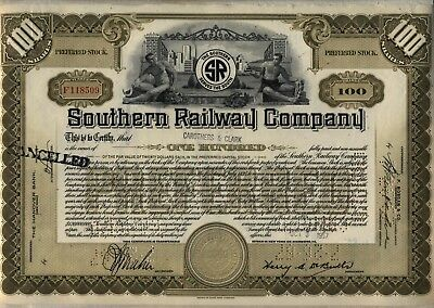 Southern Railway Company Stock Certificate Railroad Olive