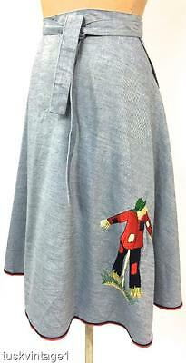 VINTAGE 70s CHAMBRAY red scarecrow embroidered appliqué WRAP A line skirt O/S