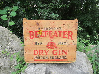 Vintage Wooden Advertising BEEFEATER DRY GIN Wood Crate Liquor Box London Eng