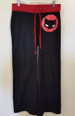 Emily The Strange Small Yoga Lounge Pants Black Red Cat Hard to Find Punk Rock S