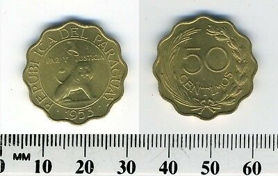 Paraguay 1953 - 50 Centimos Aluminum-Bronze Coin - Seated lion with liberty cap