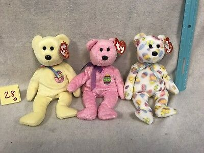 Lot Of 3 Ty Beanie Baby Eggs Easter Bear Toy Retired Plush Tag New