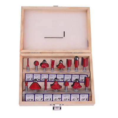 "15pcs 1/4"" Router Bit Set Kit Shank Tungsten Carbide Rotary Tool Wood Case Box"