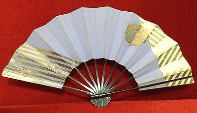 """RARE Old  Art Japanese Hand Fans paper 11"""" Color Purple & Gold Free Shipping"""