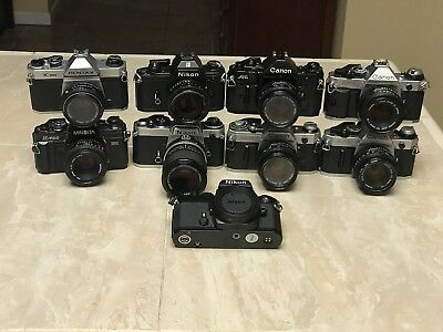 Lot Of 9 Film Cameras (Canon AE-1, A-1, Nikon FE, EM, Minolta X-700) READ
