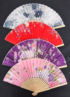 Chinese Handheld Fan - Silk Bamboo Rib Folding 4 Flower Design Handy Portable