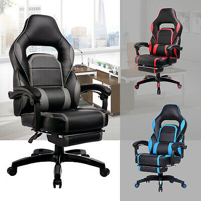 GTRacing PU Executive Gaming Chair Recliner Napping Chair With Footrest US