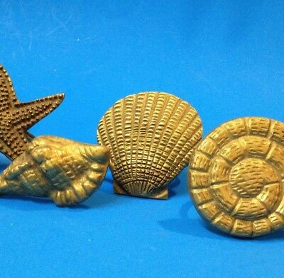 Set x 4 - Brass Napkin Rings Holders - Each A Different Shell Design - 4cm Ring