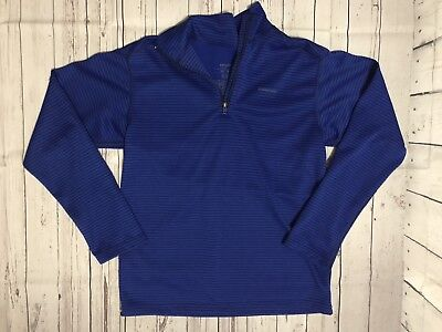 Kid's Patagonia 1/4 Zip Light Pullover Sweater Blue Black Stripes Size 10