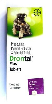 Drontal Plus for Dog 20 tablets Roundworm and Tapewormer 1 tablet for 10 kg