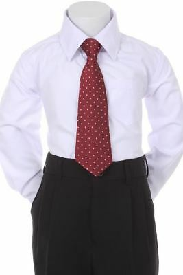 Boys' Formal Woven Pattern Neck Tie - Burgundy with Polka Dots