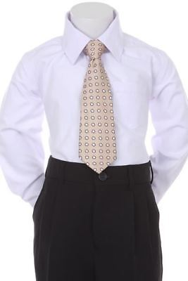 Boys' Formal Woven Pattern Neck Tie - Beige with Polka Dots