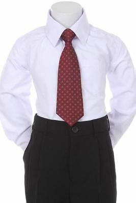 Boys' Formal Woven Pattern Neck Tie -Burgundy with Square Design