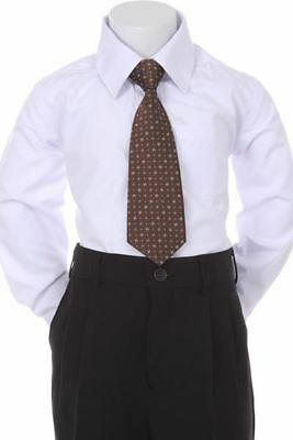 Boys' Formal Woven Pattern Neck Tie - Brown with Square Design