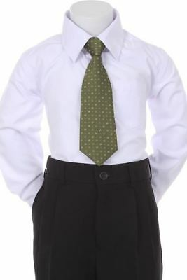 Boys' Formal Woven Pattern Neck Tie -Olive Green with Square Design