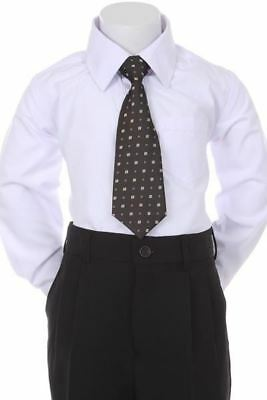 Boys' Formal Woven Pattern Neck Tie - Chocolate Brown with Square Design