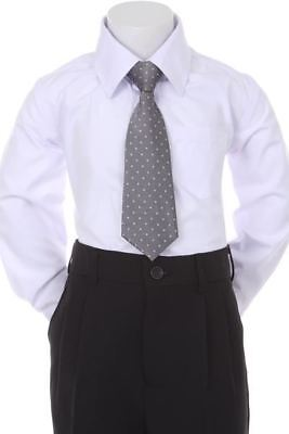 Boys' Formal Woven Pattern Neck Tie - Grey with Polka Dots