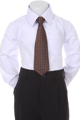 Boys' Formal Woven Pattern Neck Tie - Dark Brown with Square Design