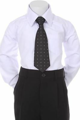 Boys' Formal Woven Pattern Neck Tie - Black with Polka Dots