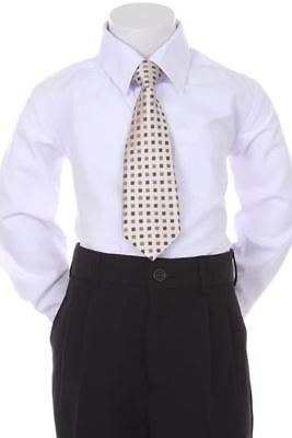Boys' Formal Woven Pattern Neck Tie - Ivory with Square Design