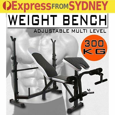 Multi-Station Weight Bench Gym Station Press Fitness Weights Equipment Flat ON