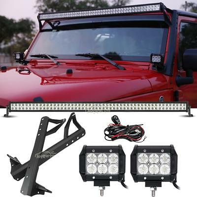 "700W 52Inch + 4"" 18W Led Light Bar+Mounting Bracket  Fit Jeep Wrangler Jk 07-18"