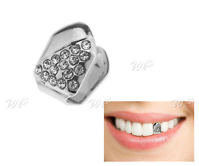 Glitter Diamond Cap Silver Plated Half Iced-Out Single Tooth Grill Halloween
