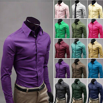 Mens Long Sleeve Button Shirts Work Slim Fit Formal Plain Dress Top Solid Colour