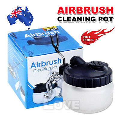 Airbrush Cleaner Air Brush Clean Jar Pot Cleaning Station Glass Bottles Holder