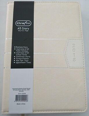 NEW 2018 Business Diary A5 Day To Page Padded Cover 2018 Diary A5 White