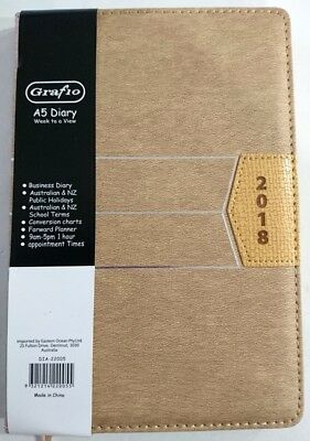 NEW 2018 Business Diary A5 Week To Page Padded Cover  2018 Diary Light Brown