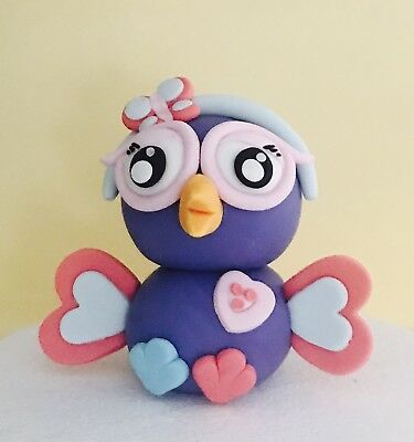 Hootabelle Owl kids Birthday cake topper fondant edible Hootable giggle and hoot